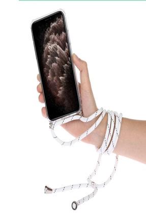 TEKNOMODA Xiaomi Redmi Note 9 Pro Siyah Şeffaf Boyun Omuz Askılı Ipli Kordonlu Kılıf 2