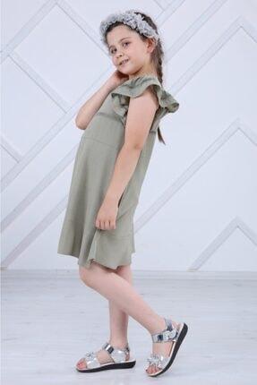 Fır Fır Kollu,dantel Detaylı Kız Çocuğu Dokuma Elbise BAL08