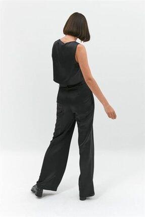 Rue Siyah Saten Crop Bluz 2