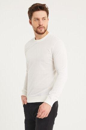 Densmood Pamuklu Bisiklet Yaka Beyaz Sweatshirt 3