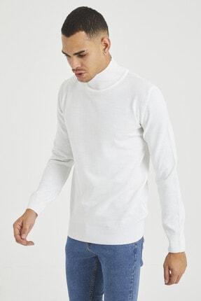 Tarz Cool Erkek Beyaz Erkek Beyaz Yarım Boğazlı Triko Kazak 2