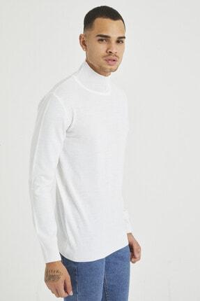Tarz Cool Erkek Beyaz Erkek Beyaz Yarım Boğazlı Triko Kazak 3