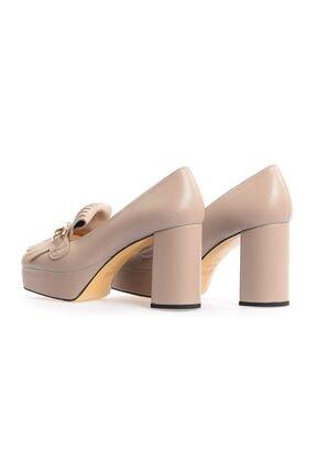 Flower Vizon Kalın Topuklu Önden Püsküllü Ayakkabı 2