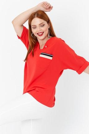 Lafaba Kadın Kırmızı Fakir Kollu Büyük Beden Cepli Bluz 0