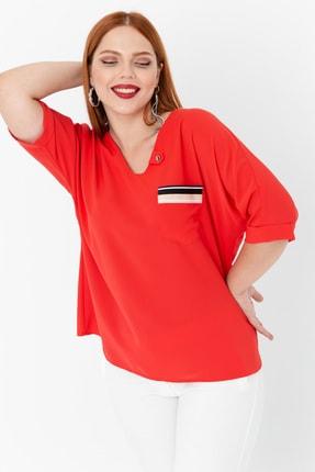 Lafaba Kadın Kırmızı Fakir Kollu Büyük Beden Cepli Bluz 3