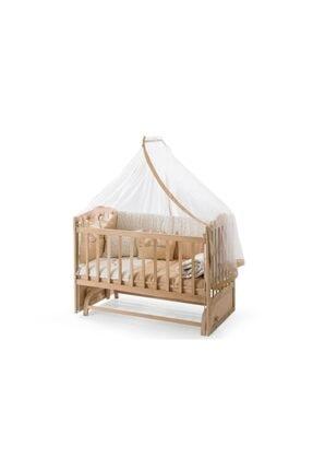 Heyner Ahşap Beşik Anne Yanı Beşik Sallanır Beşik Organik 60x120 + Krem Prenses ( Kız ) Uyku Seti + Yatak 0