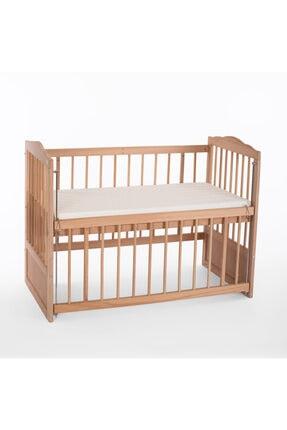 Heyner Ahşap Beşik Anne Yanı Beşik Sallanır Beşik Organik 60x120 + Krem Prenses ( Kız ) Uyku Seti + Yatak 3