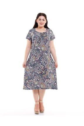 Dükkan Moda Kadın Büyük Beden Elbise Büzgülü Yaka Şal Desenli 1