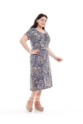 Dükkan Moda Kadın Büyük Beden Elbise Büzgülü Yaka Şal Desenli 2