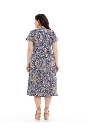 Dükkan Moda Kadın Büyük Beden Elbise Büzgülü Yaka Şal Desenli 4