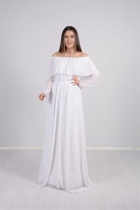 giyimmasalı Tül Üzeri Simli Abiye Elbise - Beyaz 0