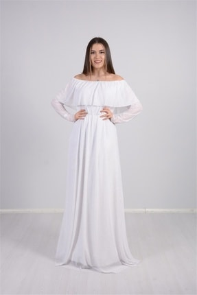 giyimmasalı Tül Üzeri Simli Abiye Elbise - Beyaz 3