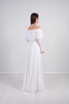 giyimmasalı Tül Üzeri Simli Abiye Elbise - Beyaz 4
