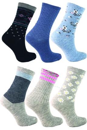 Şirin Pamuklu Desenli Kokulu 6 Çift Bayan Soket Çorabı 0