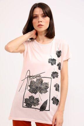 metropol tekstil Krt-044 Desenli Tshirt Pudra 0