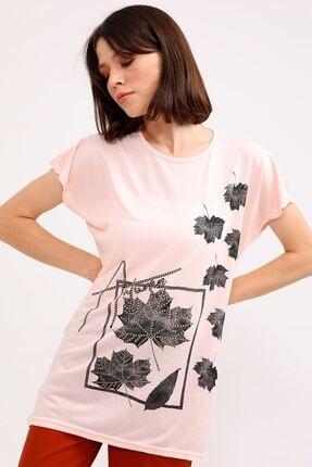metropol tekstil Krt-044 Desenli Tshirt Pudra 3