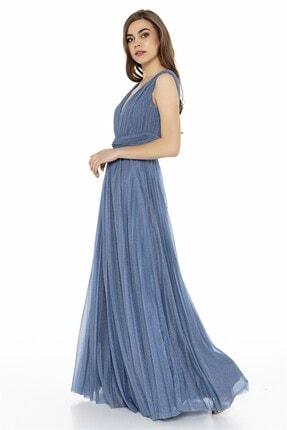 Abiye Sarayı Mavi Bel Detaylı Sırt Dekolteli Tül Elbise 2