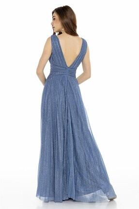 Abiye Sarayı Mavi Bel Detaylı Sırt Dekolteli Tül Elbise 4