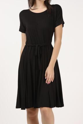 Tena Moda Kadın Siyah Beli Büzgülü Elbise 4