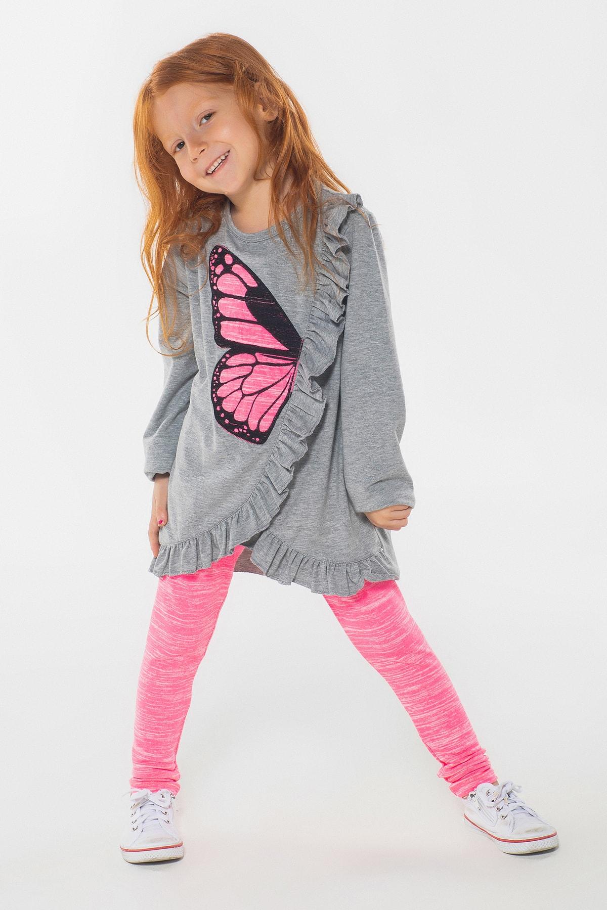 Kelebek Fırfır Kız Çocuk Tunik + Tayt Takım