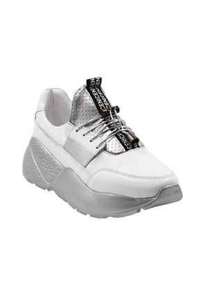 Abbondare Hakiki Deri Beyaz-gri Kadın Spor Ayakkabı-sneaker 0