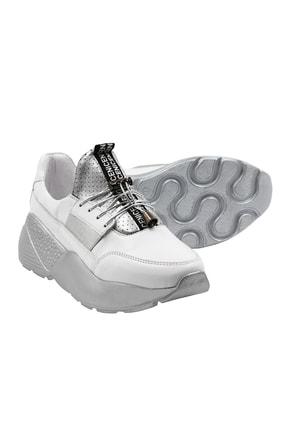 Abbondare Hakiki Deri Beyaz-gri Kadın Spor Ayakkabı-sneaker 3