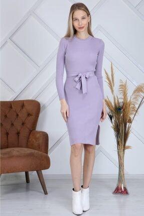 AVVER Kadın Bel Kuşaklı Yandan Yırtmaç Triko Elbise - Lila 0