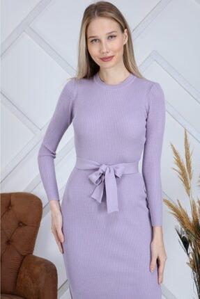 AVVER Kadın Bel Kuşaklı Yandan Yırtmaç Triko Elbise - Lila 3