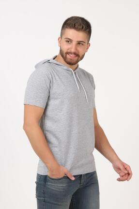 Tena Moda Erkek Gri Kısa Kollu Kapşonlu Basic Tişört 1