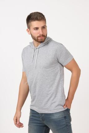 Tena Moda Erkek Gri Kısa Kollu Kapşonlu Basic Tişört 3