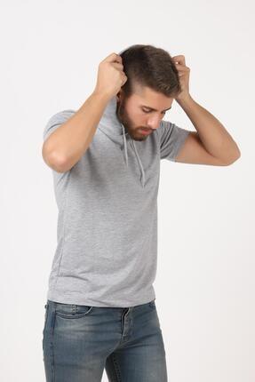 Tena Moda Erkek Gri Kısa Kollu Kapşonlu Basic Tişört 4