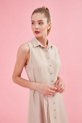 Journey Elbise Polo Yaka, Ön Komple Düğme, Belden Kuşak Detaylı, Kolsuz 0