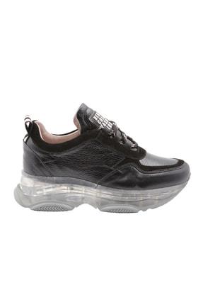 Abbondare Hakiki Deri Siyah Kadın Spor Ayakkabı-sneaker 1