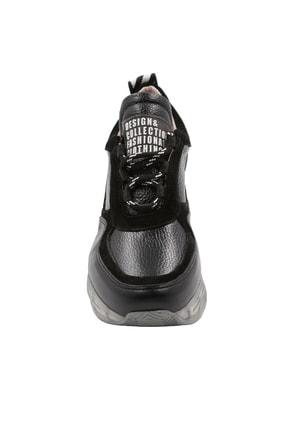 Abbondare Hakiki Deri Siyah Kadın Spor Ayakkabı-sneaker 2