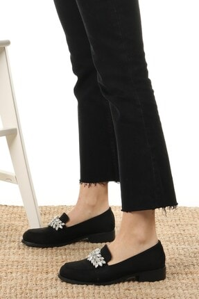 Mio Gusto Matilda Siyah Süet Taşlı Oxford Ayakkabı 4