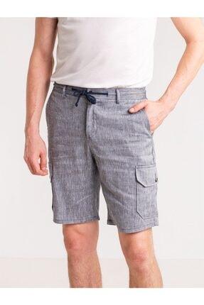 Dufy Lacivert Melanj Ip Detaylı Cepli Keten Karışımlı Erkek Short - Modern Fit 0