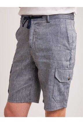 Dufy Lacivert Melanj Ip Detaylı Cepli Keten Karışımlı Erkek Short - Modern Fit 1