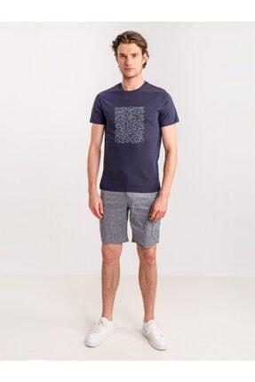 Dufy Lacivert Melanj Ip Detaylı Cepli Keten Karışımlı Erkek Short - Modern Fit 3