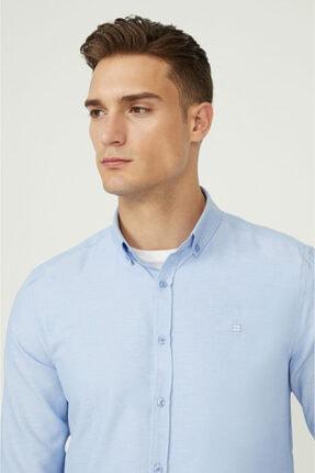 Avva Erkek Mavi Oxford Düğmeli Yaka Slim Fit Gömlek E002000 1