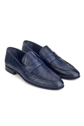 Cabani Örgülü Derili Neolit Enjeksiyon Tabanlı Loafer Erkek Ayakkabı Lacivert Deri 4