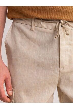 Dufy Bej Melanj Ip Detaylı Cepli Keten Karışımlı Erkek Short - Modern Fit 1