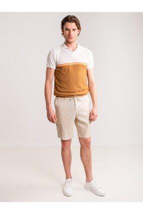 Dufy Bej Melanj Ip Detaylı Cepli Keten Karışımlı Erkek Short - Modern Fit 3