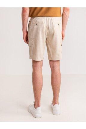 Dufy Bej Melanj Ip Detaylı Cepli Keten Karışımlı Erkek Short - Modern Fit 4