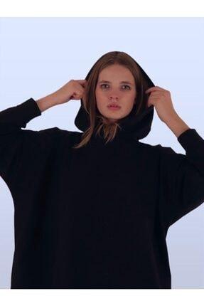 TİLLE Kadın Siyah Kapüşonlu Oversize Sweat 1