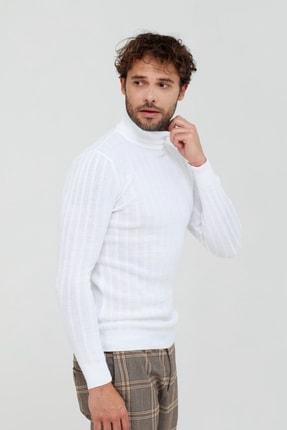Tarz Cool Beyaz Çizgili Boğazlı Triko Kazak- Tarz1676r04s 3