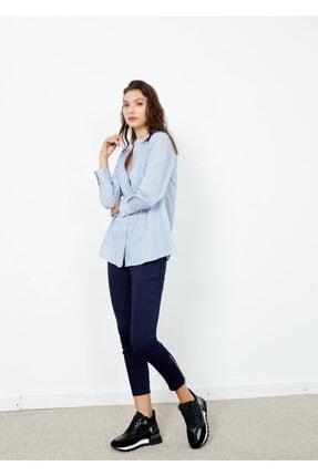 Adze Kadın Mavi Çizgili Cepli Gömlek Mavi Xl 1