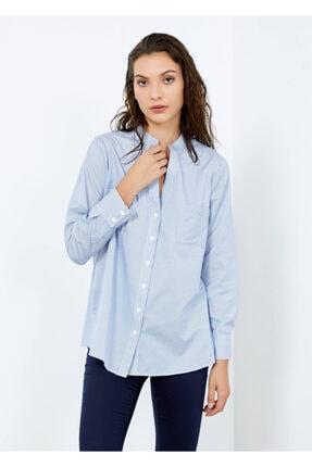 Adze Kadın Mavi Çizgili Cepli Gömlek Mavi Xl 4