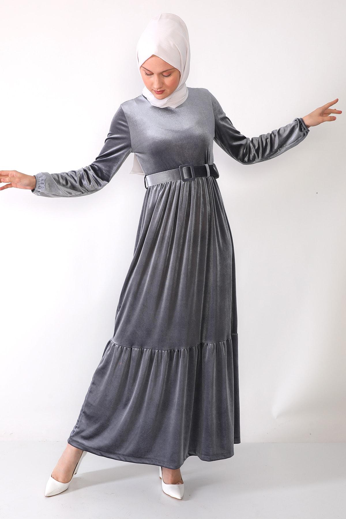 trendolur Kadife Elbise-gri