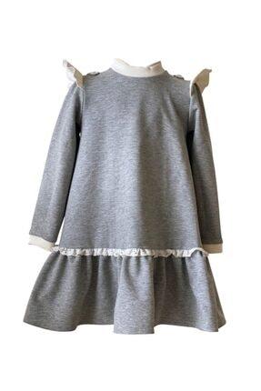 Lufata Gri Kız Çocuk Uzun Kollu Elbise 1