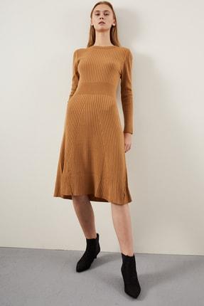 Tena Moda Kadın Bisküvi Fitilli Çan Uzun Elbise 0